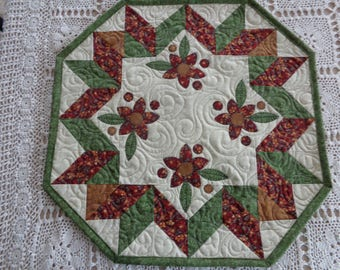 Country Floral table quilt, Floral little quilt 0323-02