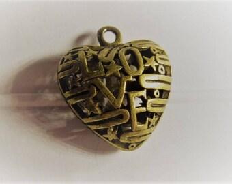 26MM 1CT. Brass Heart Pendant, Y62