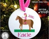Horse Ornament -  Girls Personalized Horse Christmas Ornament - Horseback Rider Ornament