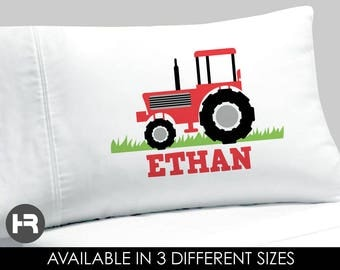 Red Tractor Pillowcase -  Boys Personalized Tractor Pillow case - Standard Personalized Pillowcase