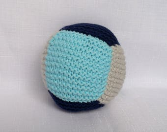Cotton Baby Ball Rattle - Blue