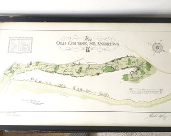 Signed Survey Map of Old Course St. Andrews, St. Andrews Golf Course Map