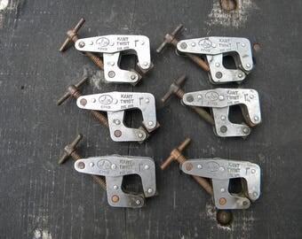 """6 good shape vintage KANT TWIST 401 MACHINIST t handle 1 """" clamps"""