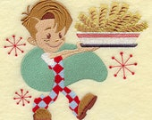 Diner Boy with French Fries Embroidered on Kona Cotton Quilt Block // Plain Weave Cotton Dish Towel // Also Available on Other Items