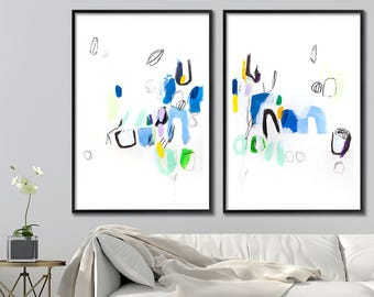 Large Contemporary Print, Huge giclee on paper. Blue green painting. Giclee Print 28x40