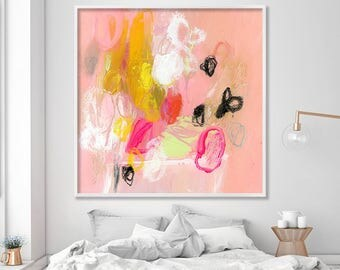 Large PRINT from Abstract Painting, Canvas Art, Canvas Painting, Large Wall Art, pink, yellow, white