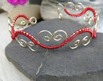 Silver and Red Filigree Bracelet