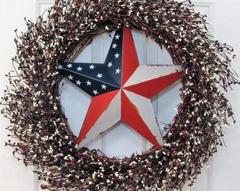 LargePatriotic Wreath - Memorial Day Wreath - Summer Wreath - Rustic Door Decor - 4th of July Home Decor - Americana Pip Berry Wreath