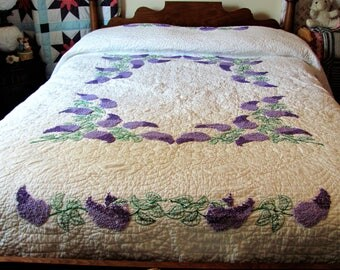 Hand Embroidered Full Sized Quilt /Purple and White Hand Quilted Quilt with Embroidered Lilacs / Full Size Very Feminine