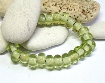 Lime Bottle, Lampwork Spacer Beads, SRA, UK