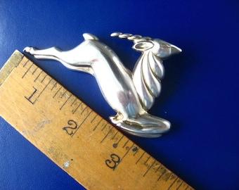 Large Sterling Silver Monet Gazelle Brooch Pin
