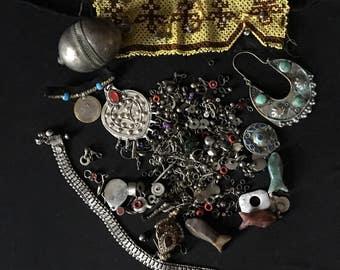 Mixed Lot KUCHI Afghan Tribal Jewelry BROKEN Parts Findings Beads Pendants Belly Dance Costume Supply KP7 Uber Kuchi®