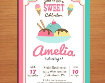 Ice Cream Birthday / Customized Printable Childrens' Birthday Party Invitation Cards DIY