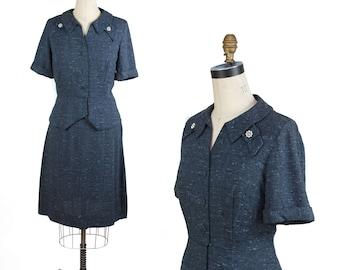 1950s Suit // Navy Blue Fleck Rhinestone Button Suit