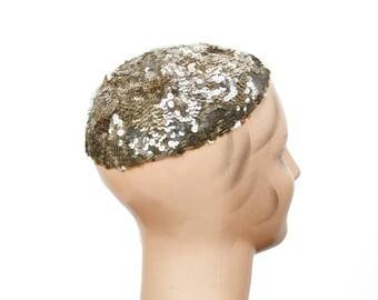1920s Hat // Silver Sequin Skull Cap