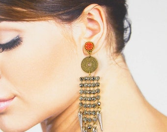 Tribal Fringe Earrings, Long Gold Chain Earrings, Long Rhinestone Dangle Earrings, Tribal Coin Earrings, Orange Boho Tribal Earrings |EC2-4