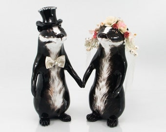 Badgers wedding topper cake topper bride and groom