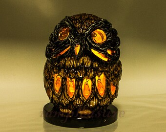 Owl Candle holder LED Halloween handmade lanterns