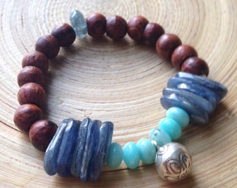 Lotus bell bracelet with kyanite, amazonite and rosewood mala bracelet yoga bracelet stretch stack
