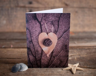 Greeting Card // Photography, Heart, Love, Leaf, Nature, Brown, Yellow