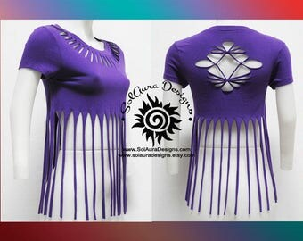 FLIRTY FRILLS 1 - Juniors / Womens Cut and Weaved Beautiful Purple Top - Yoga Wear, Festival Wear, Club Wear, Beach Wear