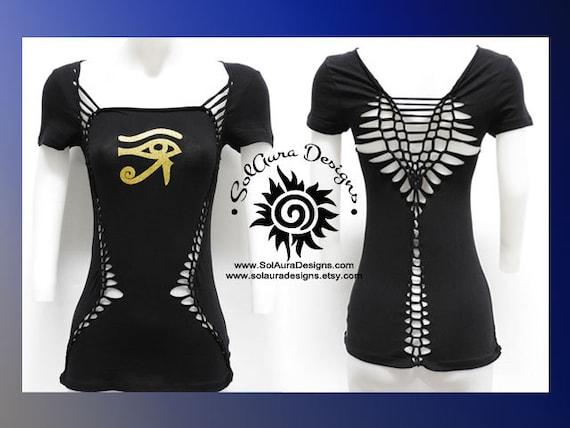 GOLDEN EYE of HORUS - Juniors / Womens Zen, Buddha Inspired Yoga Wear, Festival Wear, Club Wear, Anytime Wear