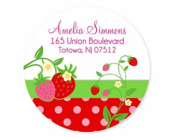 Strawberry Address Labels Stickers / Personalized Labels / Pink Green Red