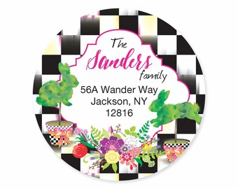 Bunny Topiary MacKenzie-Childs Inspried Checked Address Labels