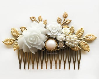 Gold Wedding Hair Comb, Large Bridal Headpiece, Romantic, Leaves, White Rose, Pearl, Vintage Style, Customised, Made to Order, Hair Slide