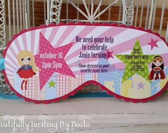 SuperHero Girls Sleeping Mask Invitation Custom Die Cut - Perfect for Sleepover Birthday, Beauty or Spa Themed, or Glam Camp Parties