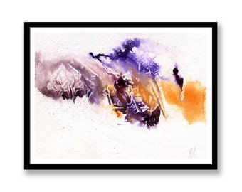 Purple and Orange abstract // Original one of a kind art work // Abstract Ink Painting // Wall Art // Office Art // Corporate Art