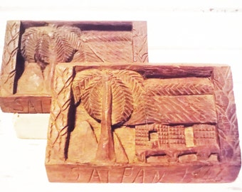 Bookends Saipan 1946 hand carved folk art doorstop hut palm tree memorabilia brown vintage