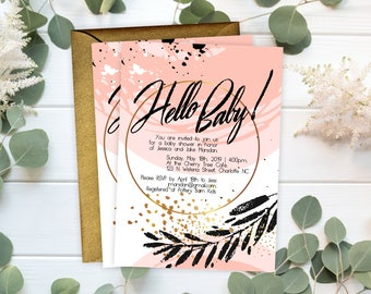 Baby Shower Invitations - Pink and Gold Baby Shower Invitation - Baby Shower Invitation Cards - Personalized Stylish Baby Shower Invitation