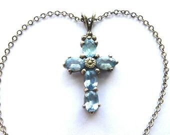 BEAUTIFUL BLUE TOPAZ Sterling Silver Cross, 925 Silver Cross, Vintage Gemstone Cross Necklace, Light Blue Gemstone Sterling Cross & Chain