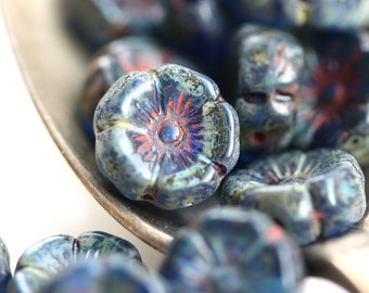 12mm Pansy flower bead, Dark Blue Picasso Czech glass Flowers, Daisy, Rustic floral beads - 10pc - 1524