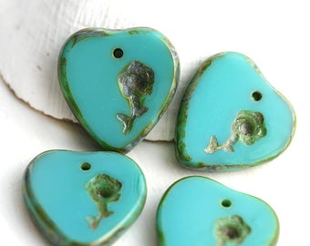 4pc Turquoise Green Heart beads with flower, Picasso Czech glass top drilled beads, 17mm - 3013