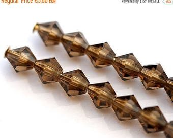 30%OFF SALE 4mm crystal beads Smoky topaz Czech Glass bicone Beads, spacers - 50Pc - 0398