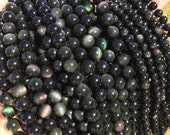 Natural Obsidian 8mm/10mm/12mm Round Beads, Full Strand G52222