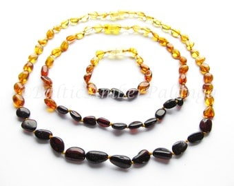 Baltic Amber Baby Teething Set for Baby and Mommy, Rainbow Color Olive Shape Beads