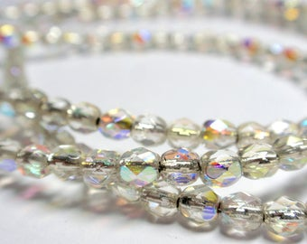 """Czech Fire Polish Crystal AB Silver Lined Round Beads, 4mm Crystal AB Silver Lined Beads, 8"""" Strand - 49 to 50 Beads"""