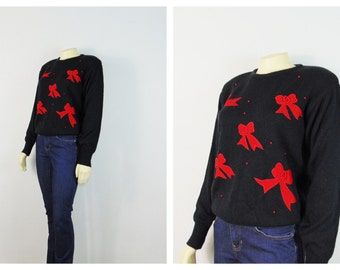 Vintage Sweater 80s Sweater Christmas Sweater Holiday Sweater Jumper Red Velvet Bows & Pearls Size Medium Modern Small to Medium