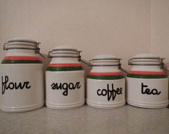 Retro MOD Baldelli Italian Ceramic Metal Clasp Jar Canister Set (4)