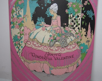 1920's-30's gorgeous bright pink silver gilded art deco valentine greeting card, die cut heart on top deco lady in garden w/shears real lace