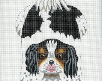 Hand Painted Needlepoint Dog Canvas - King Charles Spaniel Beanbag