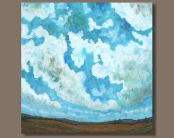FREE SHIP semi abstract painting, cloud painting, field painting, square format, impressionist painting, landscape painting, clouds, meadow