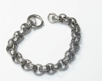 Hammered Sterling Silver Thick Link 1960's Vintage Mid Century Bracelet Fine Jewelry Gift For Her on Etsy