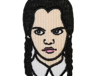Wednesday Addams Iron On Patch Embroidery Sewing DIY Customise Denim Cotton Halloween Addams Family Gothic Occult Tumblr Retro '90s