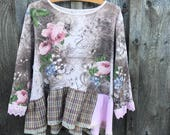 Reserved...XXL pink brown top, embelished top blouse Upcycled clothing