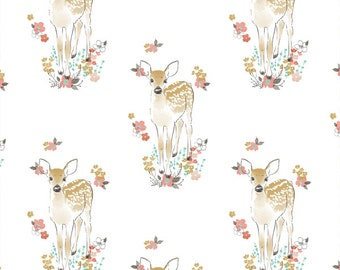 Fawn Curtains- Tulip Fawn on White Curtain Panels or Valance