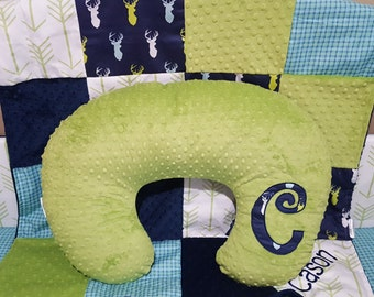 Nursing Pillow Cover -Navy Mixed Buck and Minky Dot Boppy Cover